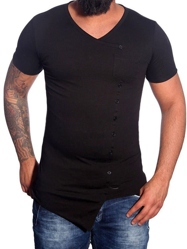 Button Plain V-Neck Single-Breasted Short Sleeve T-shirt