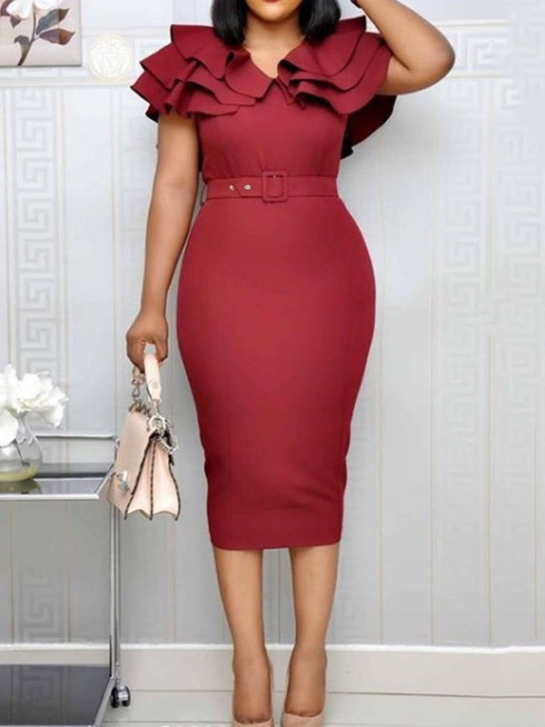 Short Sleeve Mid-Calf Falbala Bodycon Pullover Dress