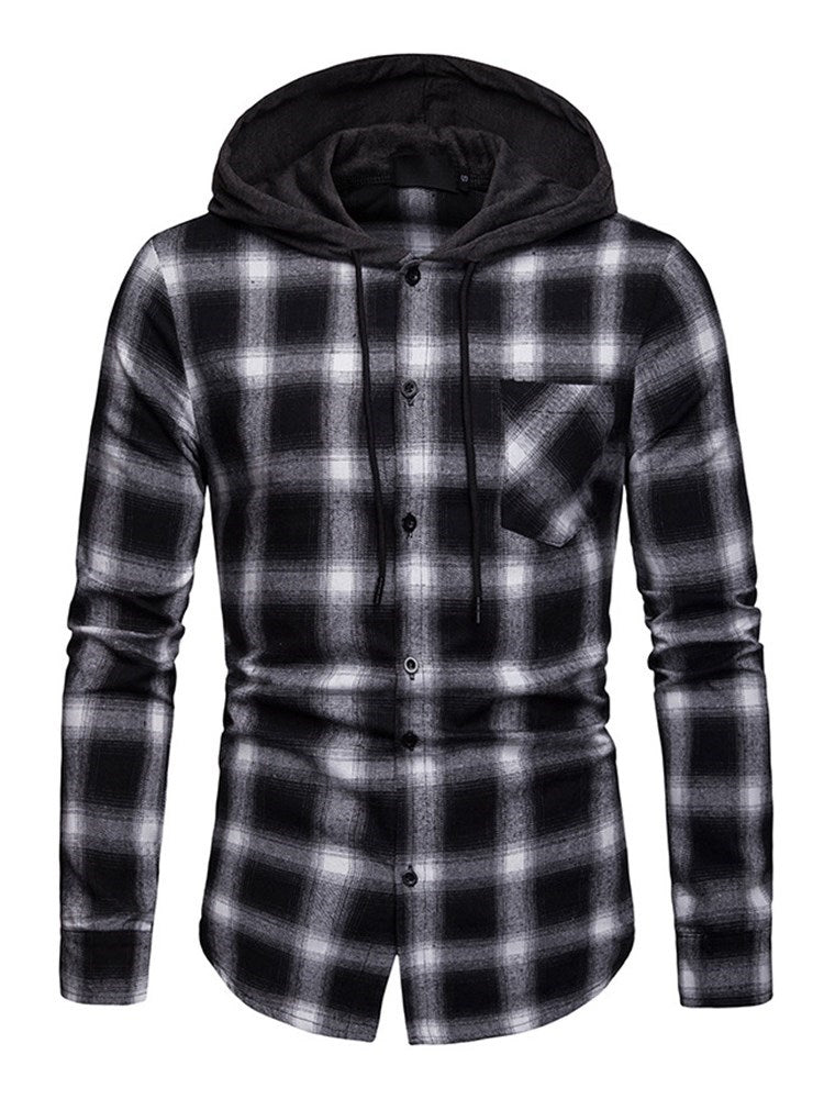 Plaid Hooded Casual Slim Spring Shirt