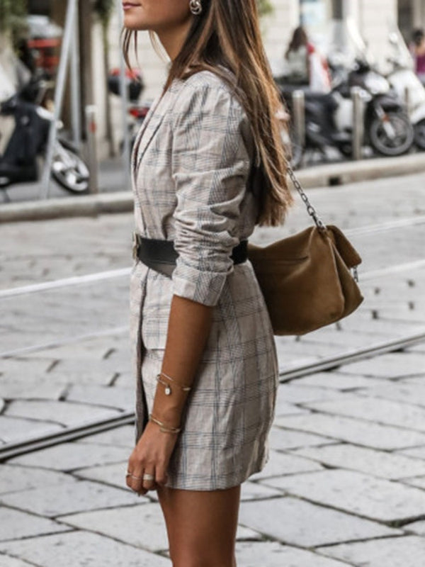 Long Sleeve Plaid Regular Mid-Length Casual Blazer