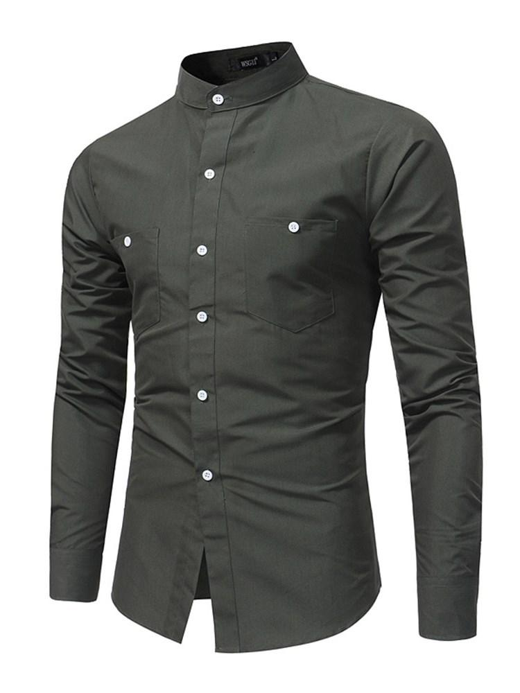 Plain Casual Pocket Single-Breasted Fall Shirt