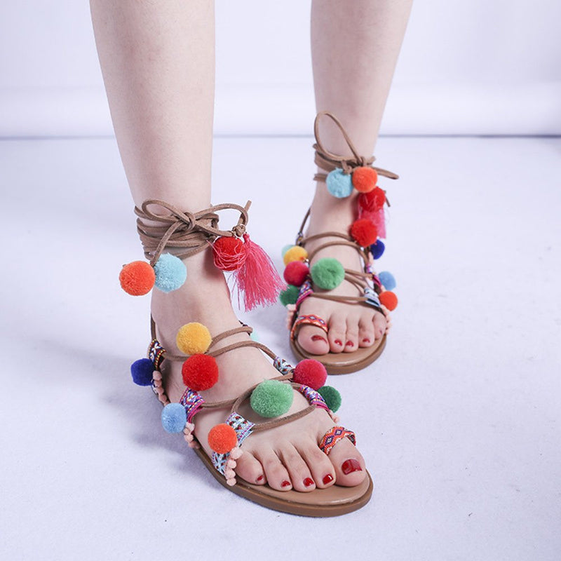 Strappy Lace-Up Toe Ring Casual Western Sandals