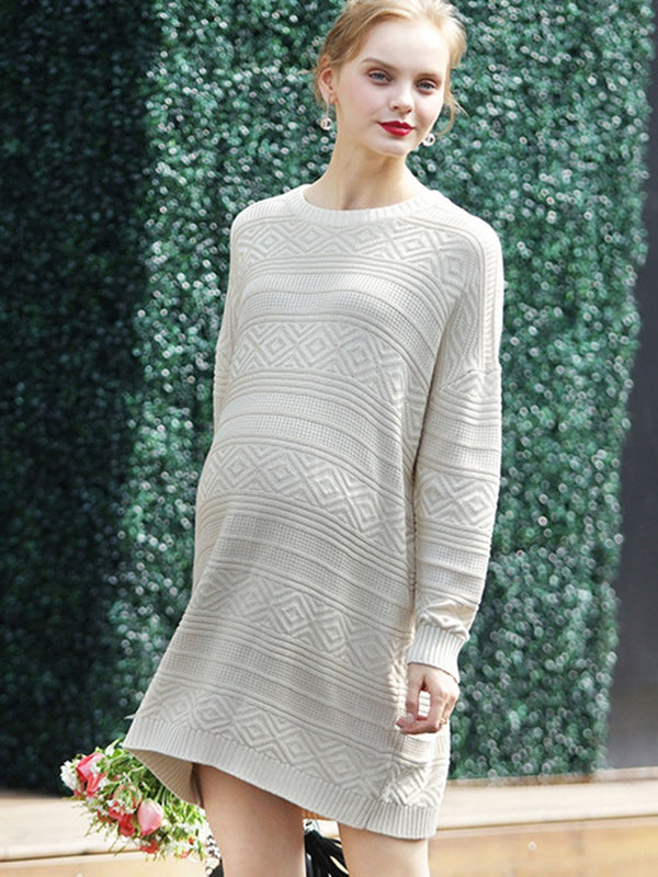 Comfort Knit Round-Neck Maternity Sweater Dress