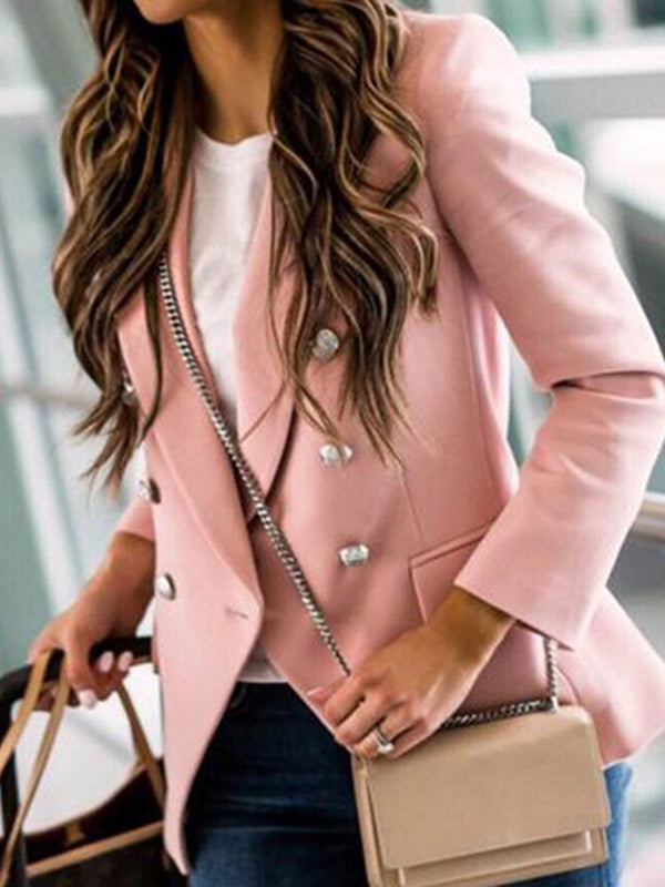Plain Double-Breasted Long Sleeve Mid-Length Regular Casual Blazer