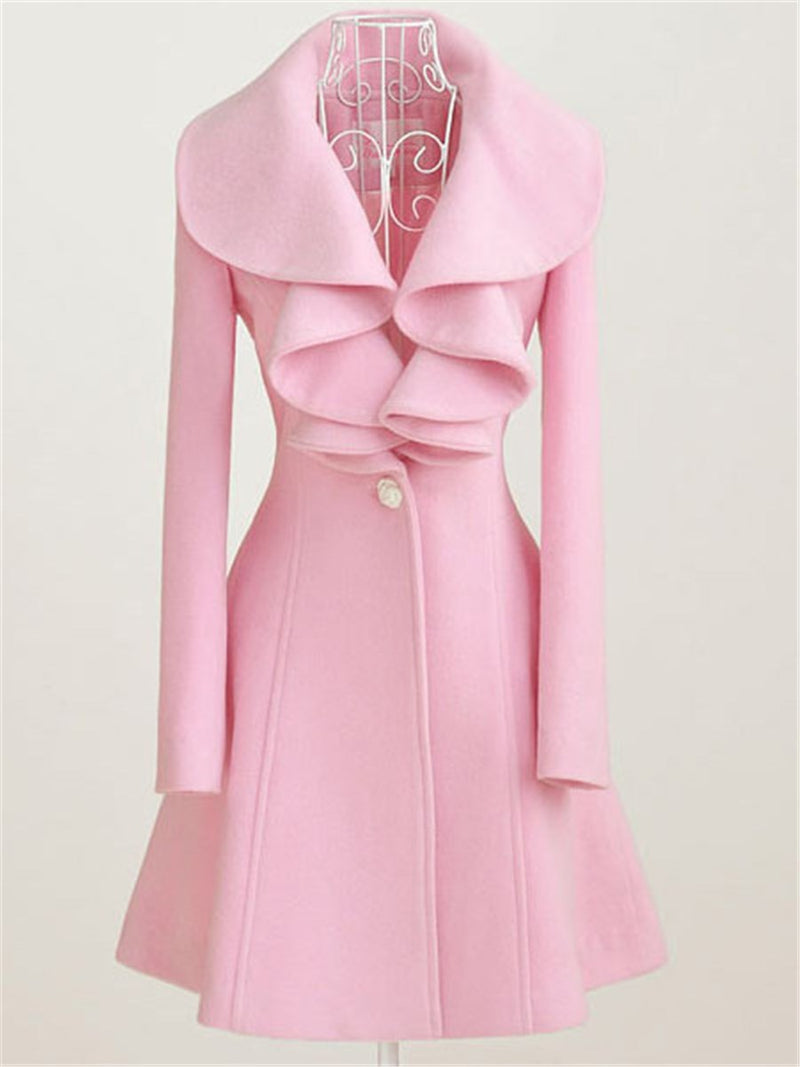 Exquisite Solid Color Falbala Wool Coat