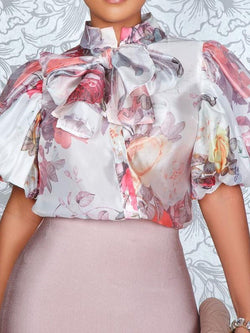 Print Stand Collar Standard Short Sleeve Blouse