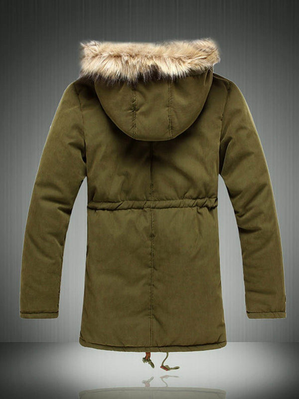 Hooded Plain Mid-Length Zipper Down Jacket