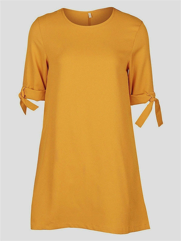 Round Neck Half Sleeve Above Knee Summer Pullover Dress