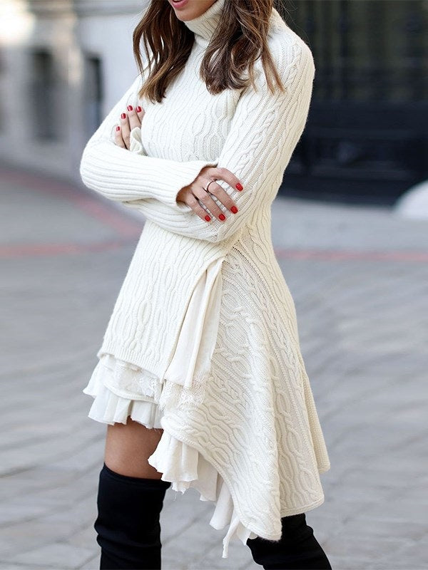 Long Sleeve Turtleneck Above Knee Plain Casual Dress