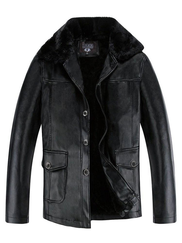 Plain Standard Lapel Spring Slim Leather Jacket