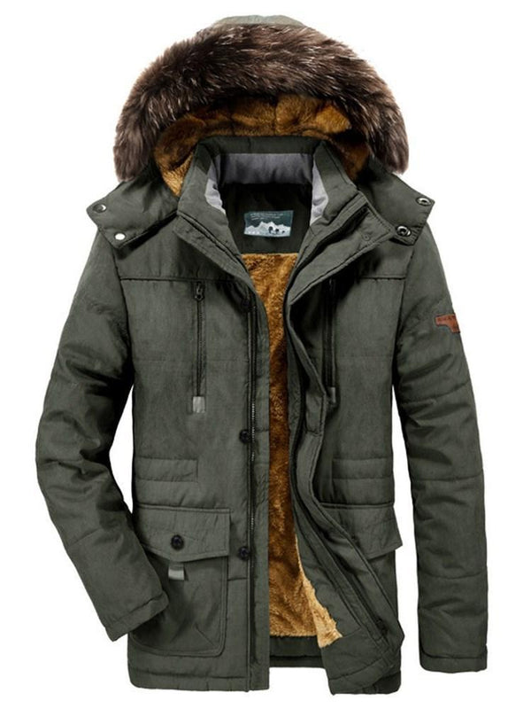 Hooded Mid-Length Color Block Zipper European Down Jacket