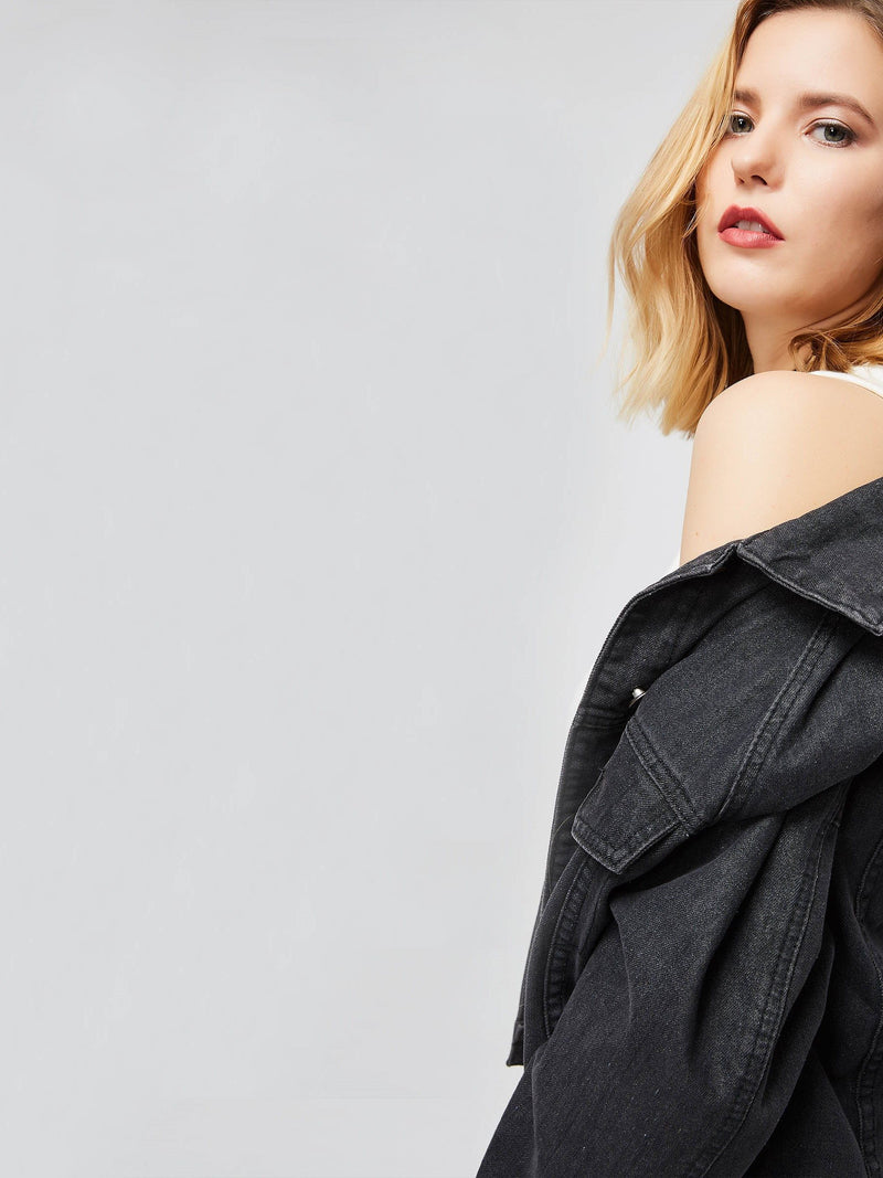 Hole Worn Lapel Double Pockets Women's Jacket