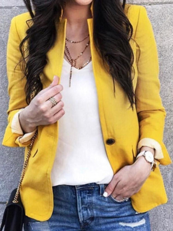 One Button Plain Long Sleeve Standard Fall Casual Blazer