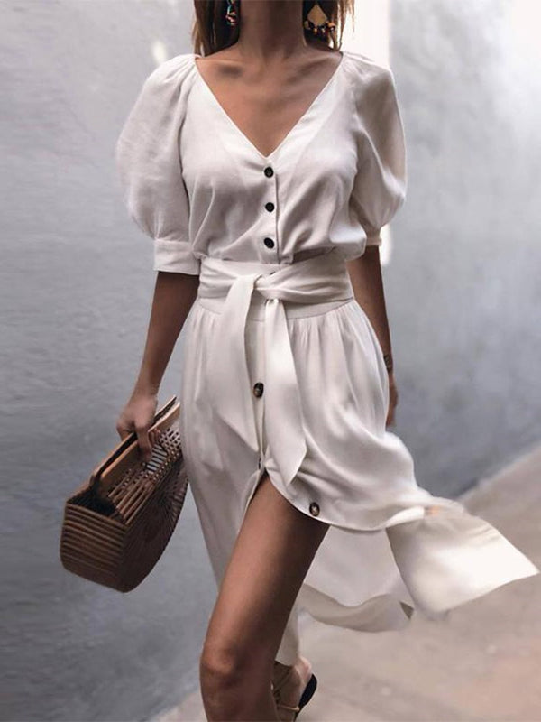 Belt Knee-Length V-Neck Summer Single-Breasted Dress