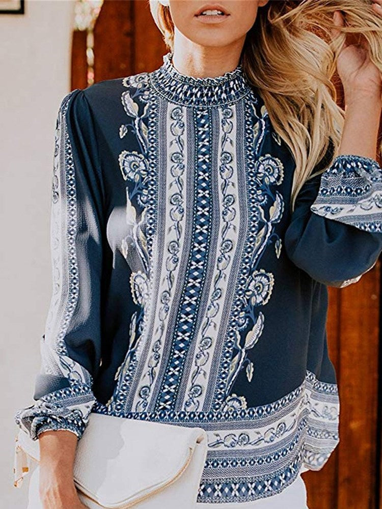 Stand Collar Print Floral Standard Long Sleeve Blouse