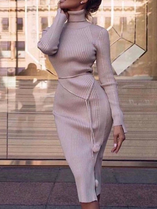Mid-Calf Long Sleeve Turtleneck Pullover Casual Dress