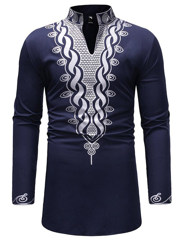 African Ethnic Style Stand Collar Geometric Fall Slim Shirt