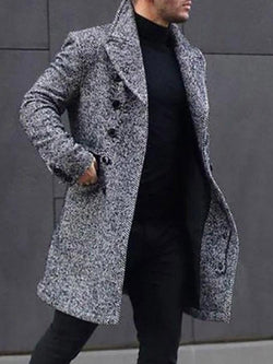 Long Plain Pocket Fall Fashion Coat