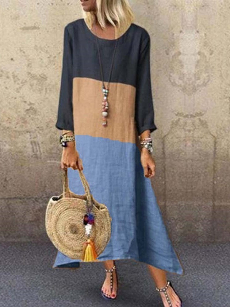 Patchwork Nine Points Sleeve Round Neck Color Block Casual Dress