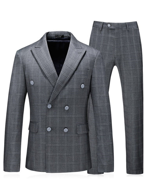 Fashion Double-Breasted Plaid Dress Suit