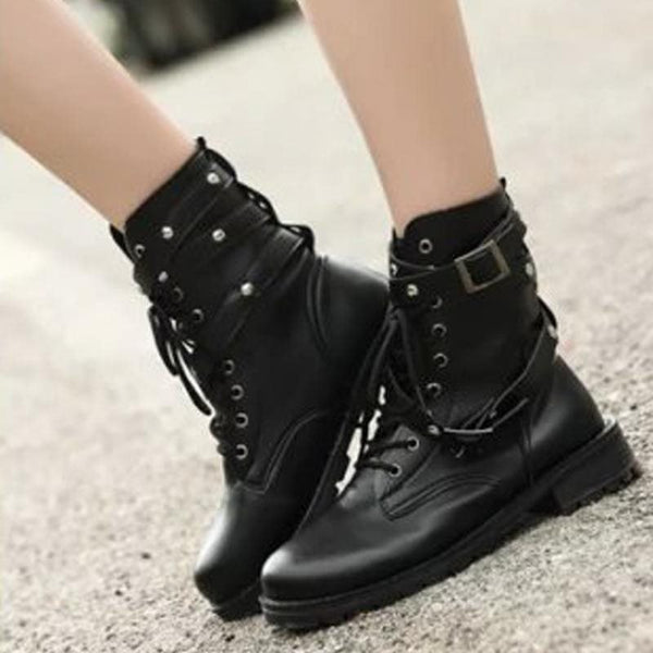 Lace-Up Front Block Heel Round Toe Plain England Casual Boots