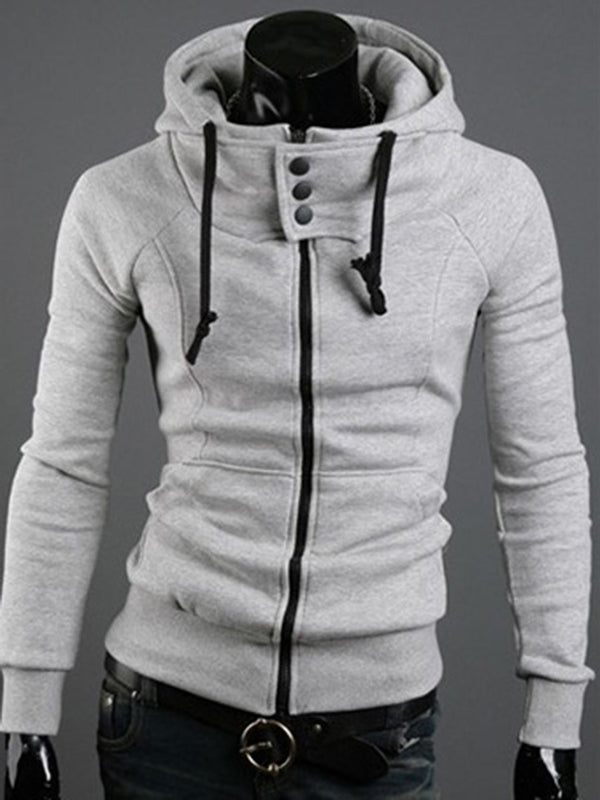 Cardigan Pocket Plain Slim Zipper Hoodies