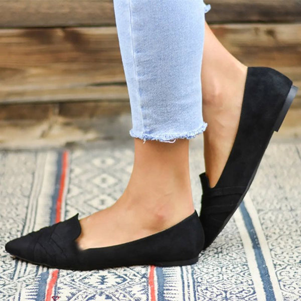Pointed Toe Block Heel Thread Slip-On Casual Low-Cut Upper Thin Shoes