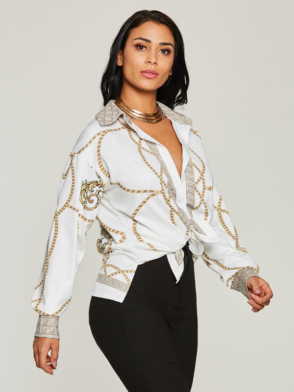 Knotted Chain Print Elegant Women's Blouse