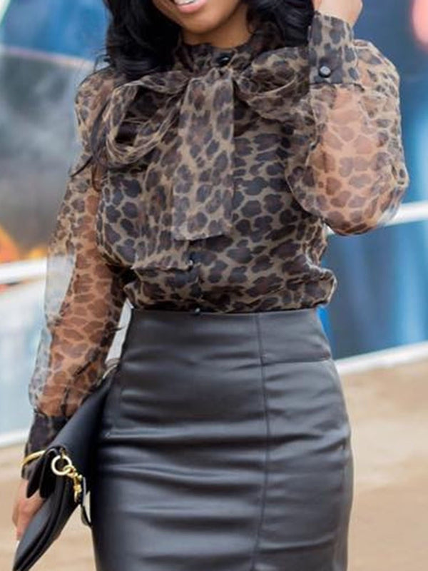 Lace-Up Leopard Lantern Sleeve Standard Long Sleeve Blouse