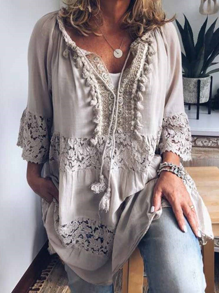 Plain Hollow Three-Quarter Sleeve Mid-Length Blouse
