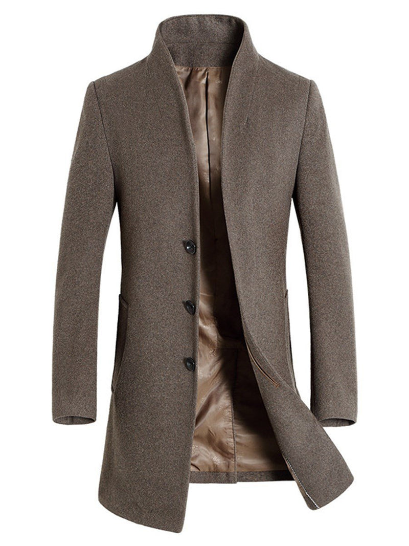 Mid-Length Plain Single-Breasted Winter Coat