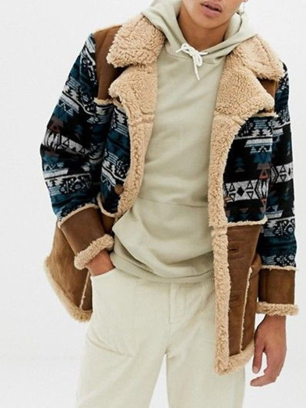 Mid-Length Color Block Patchwork Single-Breasted Casual Coat