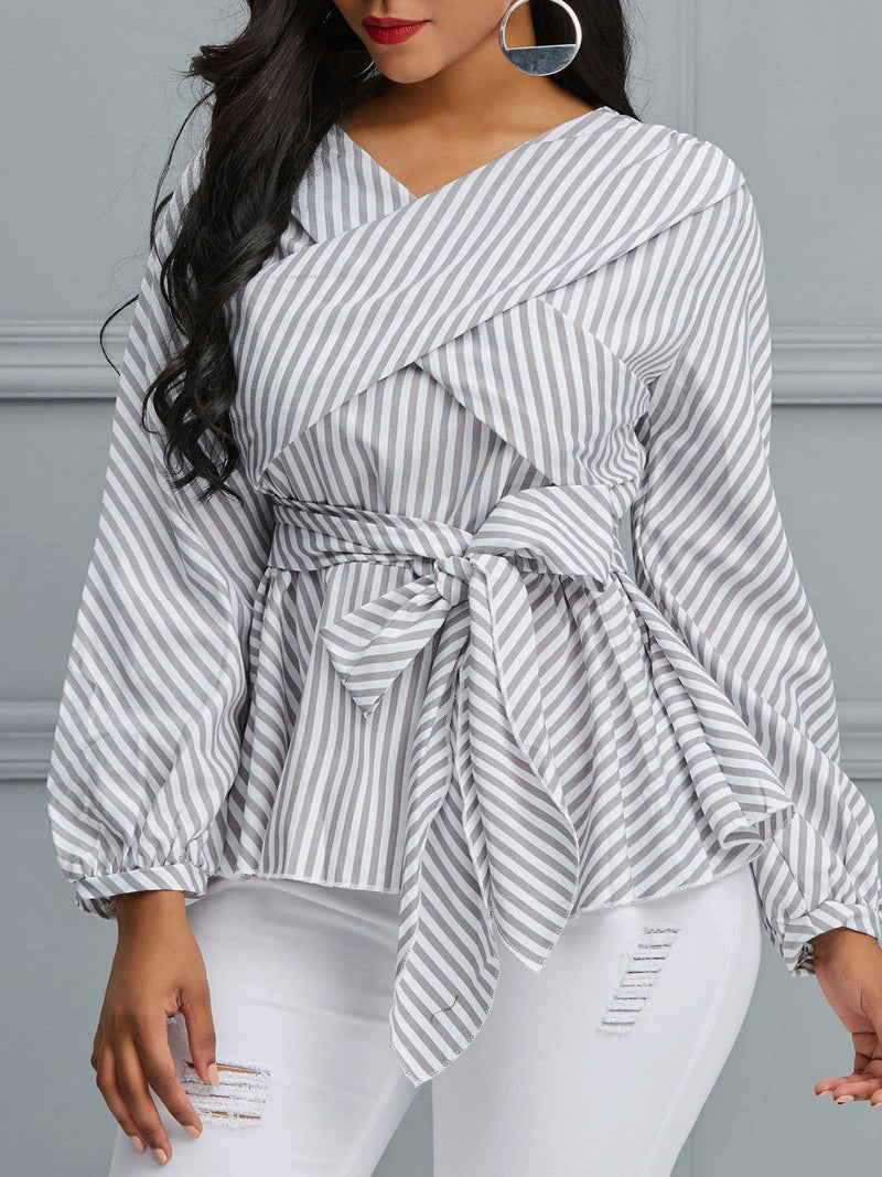 Stripe Lace-Up Long Sleeve Standard Blouse