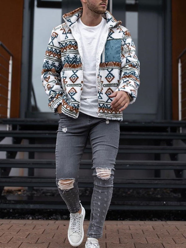 Print Thick Cardigan Zipper Fall Hoodies