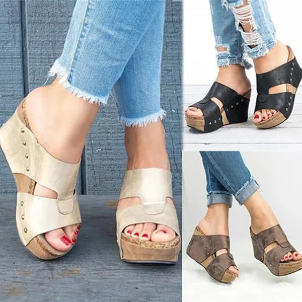PU Slip-On Open Toe High Heel Casual Sandals