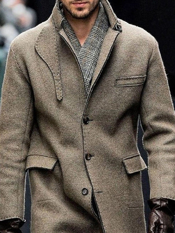 Mid-Length Plain Button Single-Breasted Winter Coat