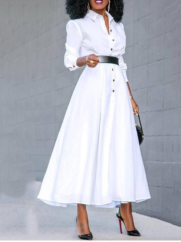 Split Mid-Calf Three-Quarter Sleeve Standard-Waist Plain Dress