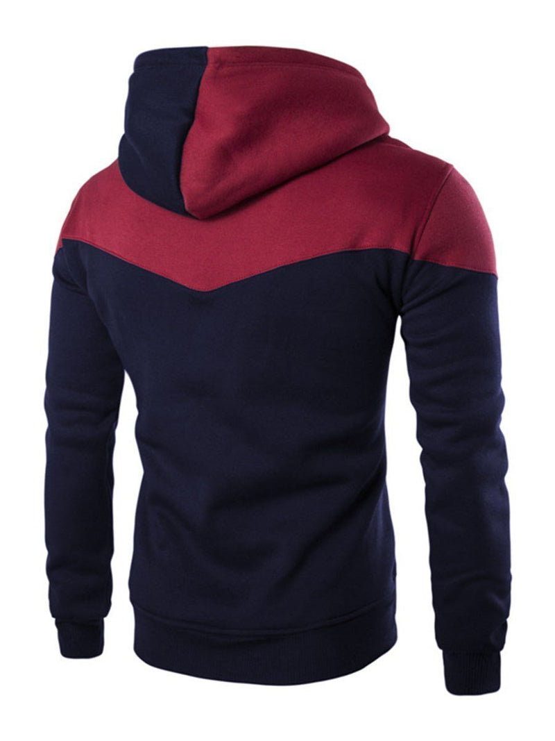 Loose Patchwork Men's Pullover Hoodie with Hat for Autumn