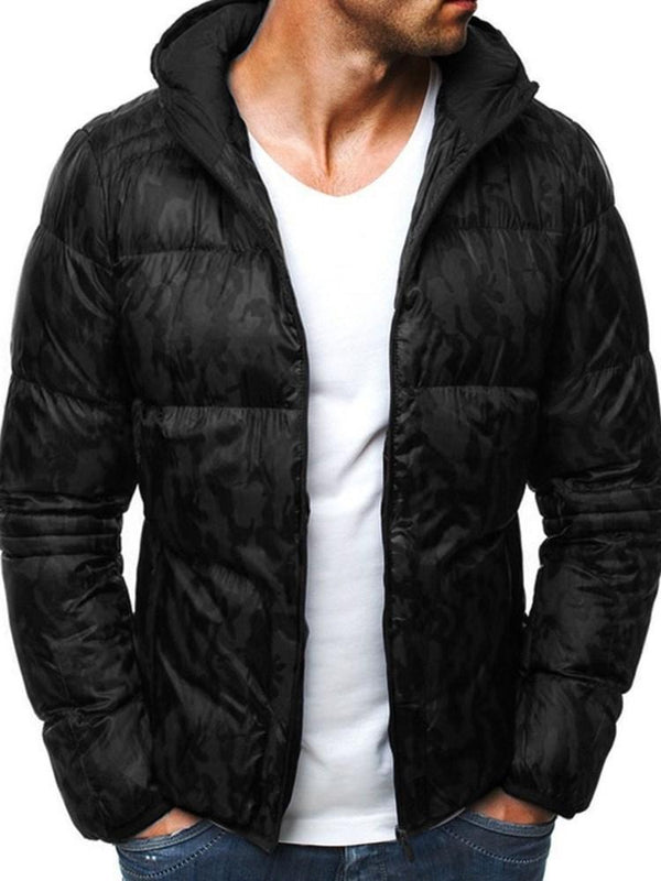 Standard Hooded Color Block Casual Zipper Down Jacket
