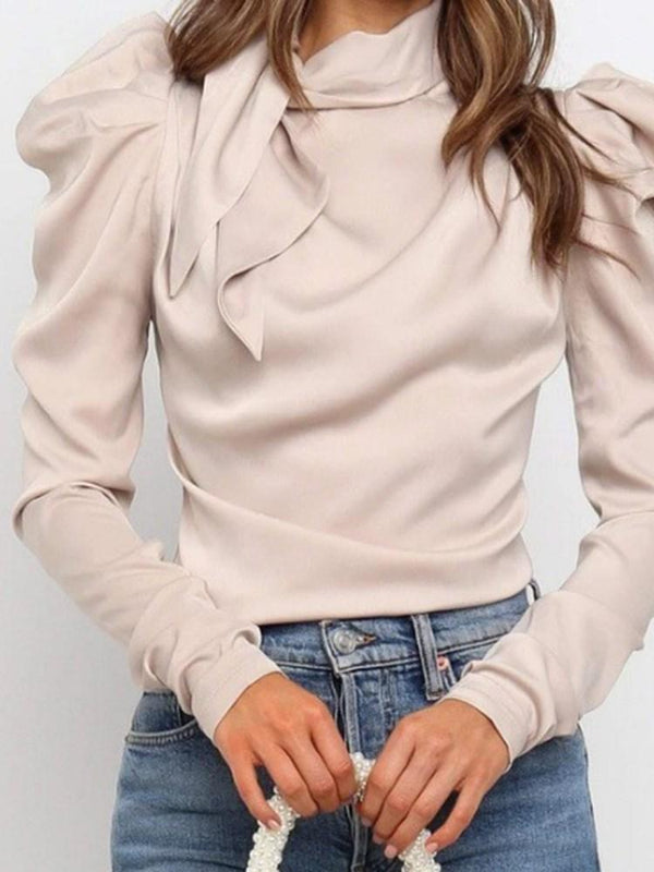 Plain Long Sleeve Standard Blouse