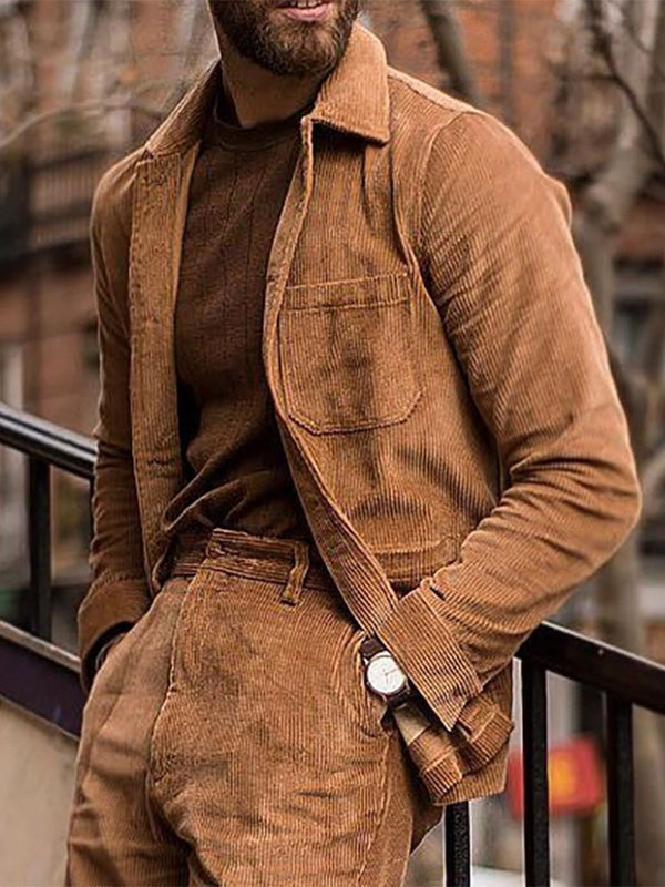 Plain Lapel Button Casual Fall Jacket