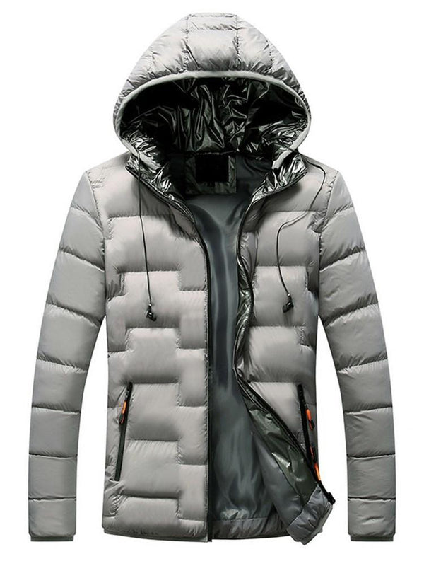 Zipper Standard Hooded Zipper Casual Down Jacket