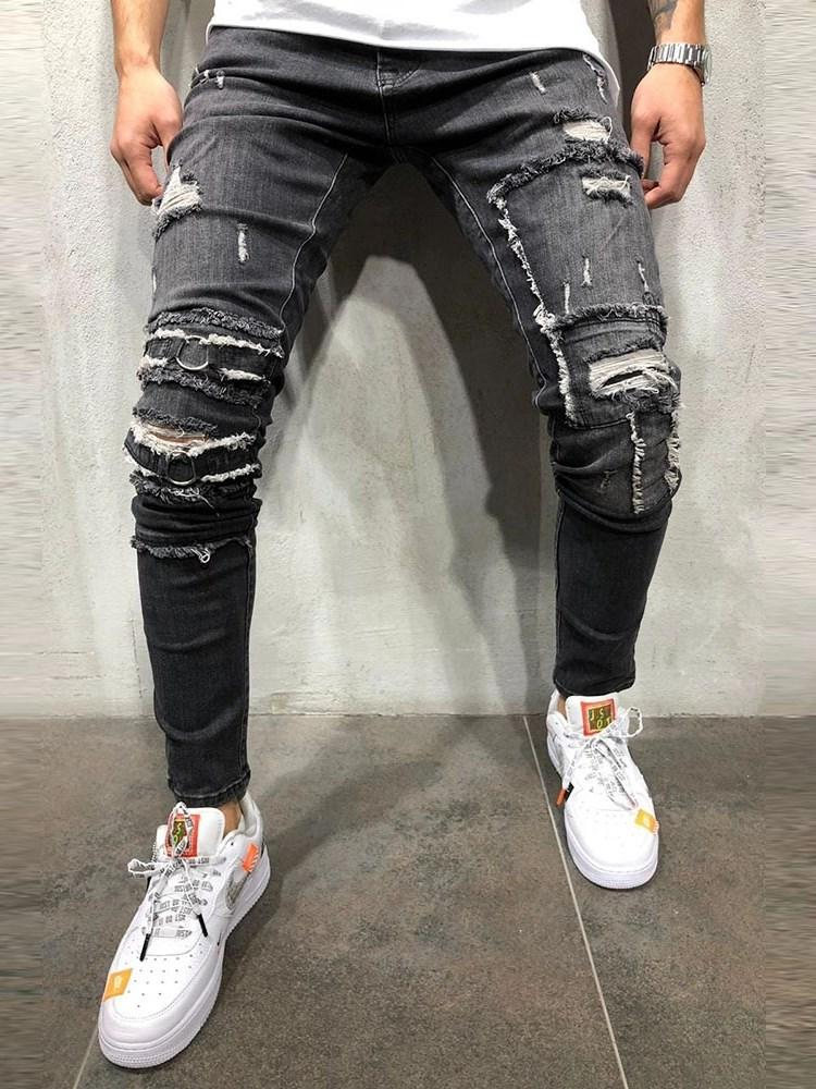 Pencil Pants Hole Mid Waist Casual Jeans