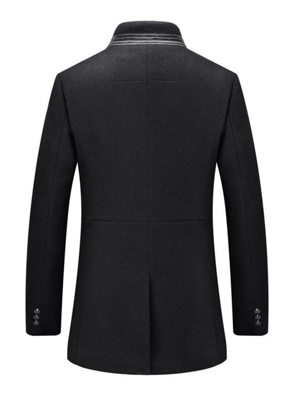 Stand Collar Mid-Length Button Winter Slim Coat