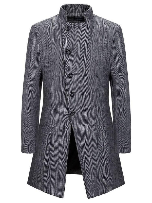 Plain Mid-Length Stand Collar European Slim Coat