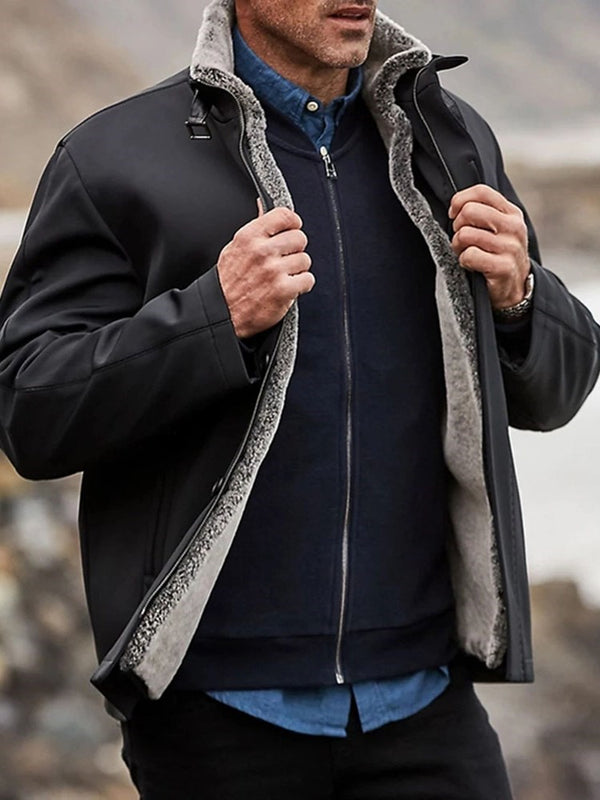 Patchwork Turtleneck Thick Winter Casual Jacket