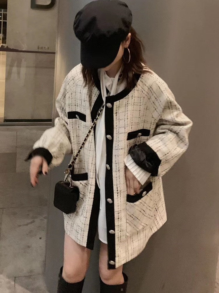 Single-Breasted Mid-Length Round Neck Office Lady Fall Trench Coat