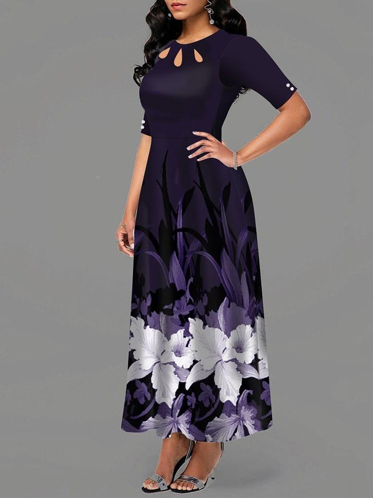Half Sleeve Ankle-Length Print Standard-Waist Pullover Dress