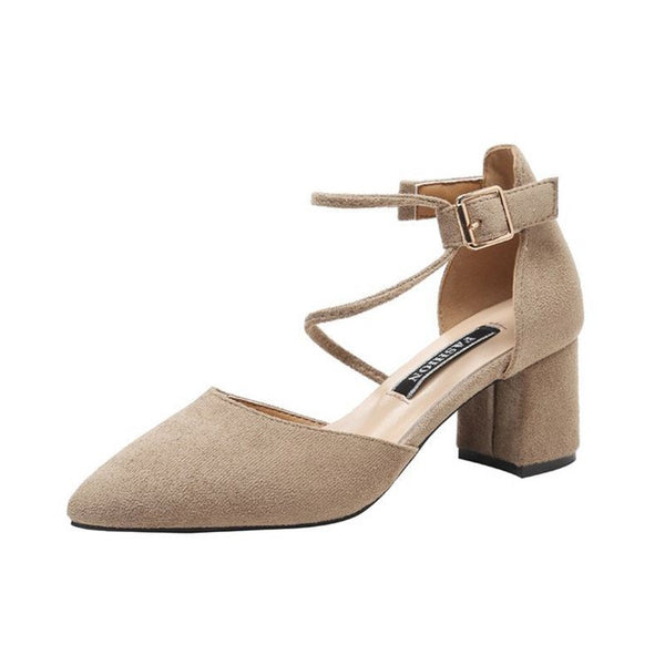 Buckle Chunky Heel Pointed Toe Low-Cut Upper Casual Thin Shoes