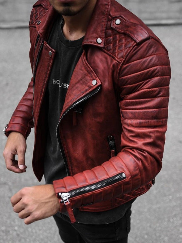 Lapel Standard Plain Casual Zipper Leather Jacket